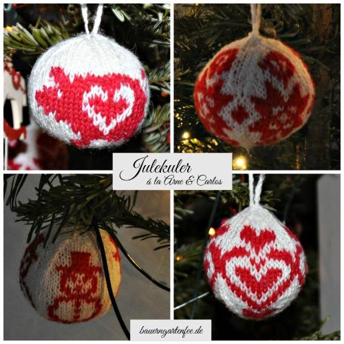 Julekuler - Gestrickte Weihnachtskugeln