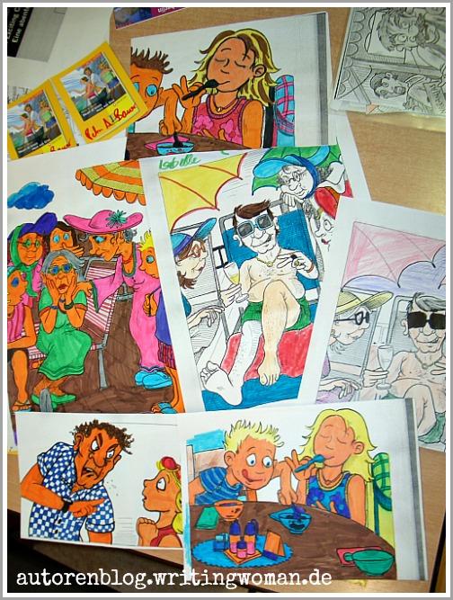 Die Buchillustrationen wurden für die Kinder kopiert, damit sie sie ausmalen konnten.