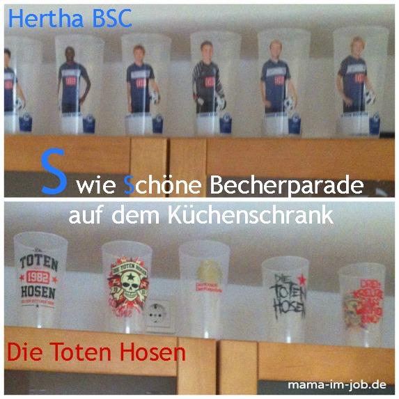 Becherparade auf unserem Küchenschrank: Die Toten Hosen und Hertha BSC
