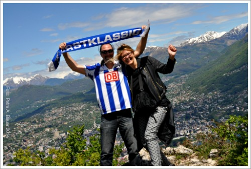 Mit Hertha auf dem Monte San Salvatore, Lugano,  Tessin, Schweiz