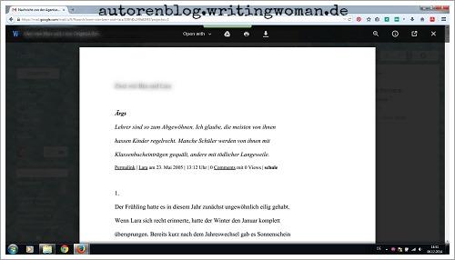 Das allererste Manuskript, das ich je fertig geschrieben habe. Screenshot: Petra A. Bauer