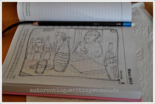 Skizze - Eindrücke vom Kunstsalon am Dienstag. Petra A. Bauer 2015