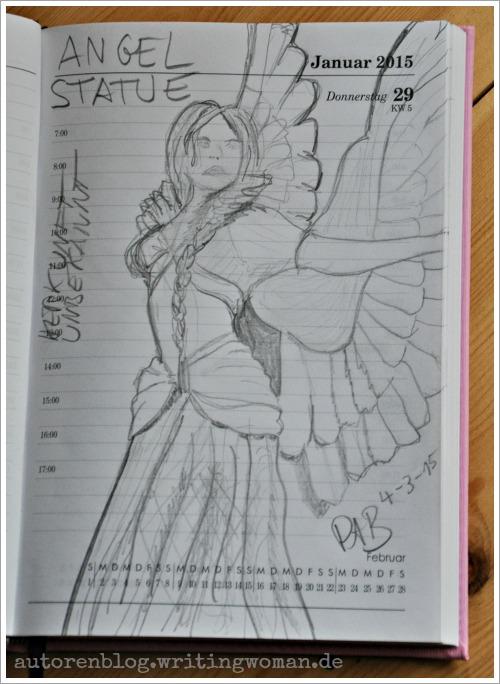 Zeichnung einer mir unbekannten Engel-Statue. Von Petra A. Bauer 2015