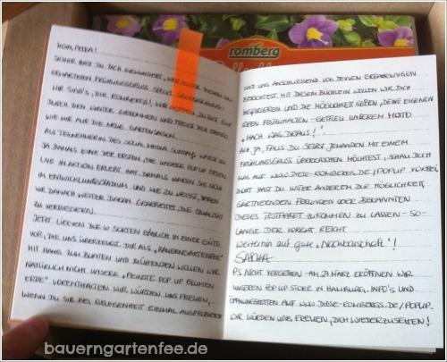 Handschriftliche Nachricht von Sascha Ehler