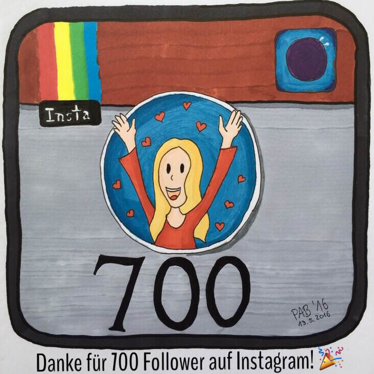 Danke für 700 Follower aus Instagram