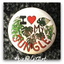 liebevoll von Hand illustrierter Button: I love my jungle