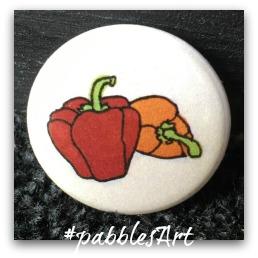 liebevoll von Hand illustrierter Button: Paprika