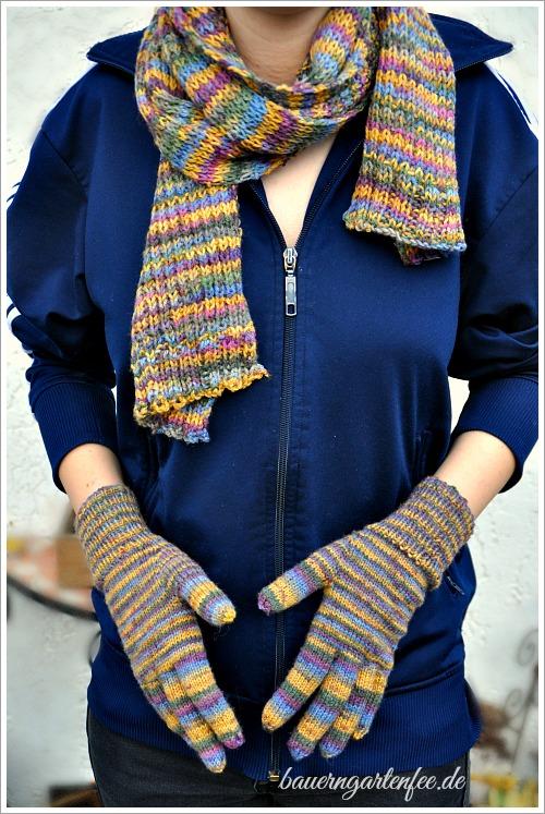 Schal und passendes Handschuhe. Strickanleitung.