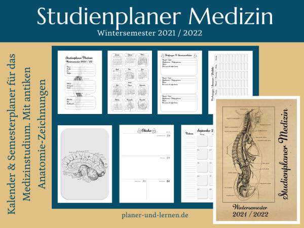 Vintage Studienplaner Medizin, Wintersemester 2021/22.