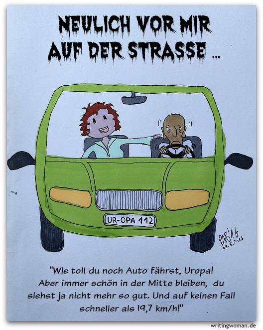 Der Tod fährt Auto. Cartoon von Petra A. Bauer, Mai 2016