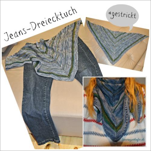 Jeans-Dreiecktuch, gestrickt