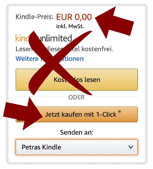 Wenn der Preis auf 0,- Euro steht, zahlt ihr beim Kauf des E-Books nichts und müsst auch kein Kindle Unlimited Abo abschließen.