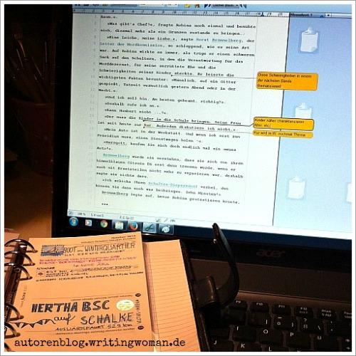 Endlich in Arbeit: das Manuskript zur Krimireihe, Band 1.