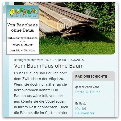 Vom Baumhaus ohne Baum - Ohrenbär-Gutenachtgeschichte von Petra A. Bauer