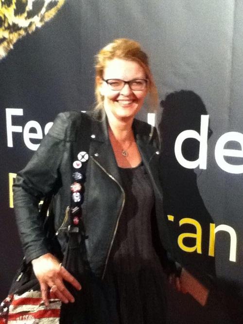 Petra A. Bauer auf dem roten Teppich in Locarno
