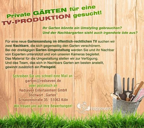 Private Gärten für TV-Produktion gesucht.
