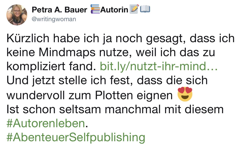@writingwoman bei Twitter am 26. März 2019 über Mindmaps zum Plotten.
